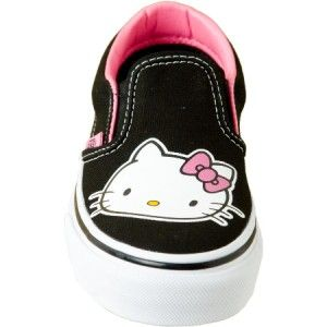 New VANS Classic Slip On HELLO KITTY Womens Sz 6.5 BLACK & PINK