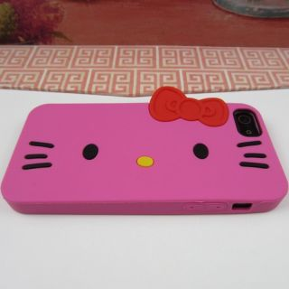 Pink Hello Kitty Rubber Silicone Skin Case Phone Cover for Apple