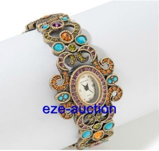 Heidi Daus Georgian Lace Crystal Accented Cuff Watch New with Tags