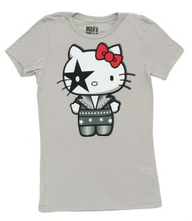 Hello Kitty Silver Kiss Mighty Fine Juniors Babydoll T Shirt Tee