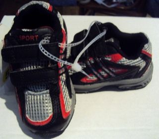 Toddler Boys Red Black Gray Tennis Shoes Size 5 New