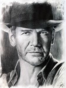 Harrison Ford Sketch Portrait Charcoal Pencil Drawing