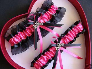 Harley Motorcycle Wedding Garters Hot Pink Black Prom