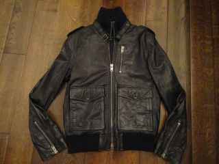 Politix Mens Black Leather Jacket Harry Kewell Size Medium NEW