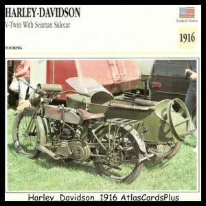 Motorcycle Card 1916 Harley Davidson w Seaman Sidecar