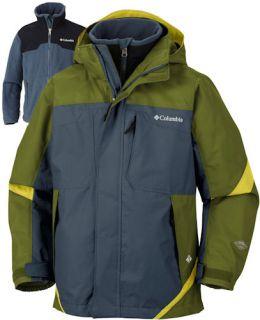 Columbia 3n1 Jacket Parka Coat 8 Small Green Waterproof Boys Bugaboo