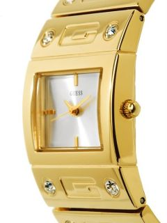 authentic brand new guess gold tone swarovski crystals watch