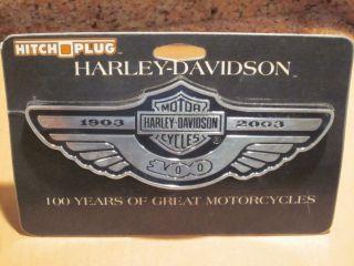 HARLEY DAVIDSON 100TH ANNIVERSARY HITCH PLUG BRAND NEW 97998 03V