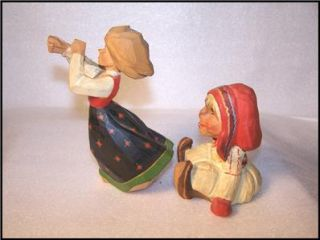 Norwegian Hand Carved Wooden Henning Folklore Sami Pillarguri