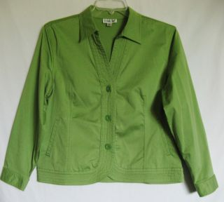 Coldwater Creek Lime Green Semi Fitted Blazer Jacket Shirt Womens Size