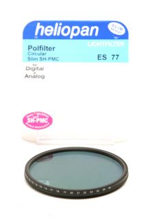 This is a new Heliopan 77mm Circular Polarizer SH PMC Slim filter.