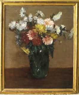 19thC French Impressionist Oil Fantin Flowers in Vase Signed Beautiful