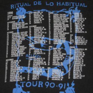 1990 Janes Addiction Vtg Tour T Shirt w Dates Janes