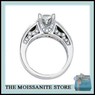 80 CT MOISSANITE SQUARE & DIAMOND ENGAGEMENT RING