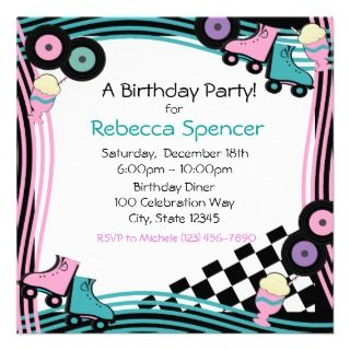 50s Diner Party Birthday Personalized Announcements