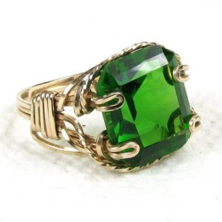 Green Quartz Gemstone Ring 14k Rolled Gold 16 5cts