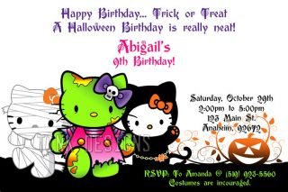 Hello Halloween Kitty Birthday Party Invitations Costume Kids