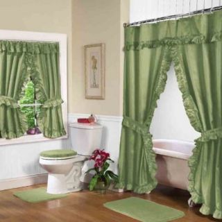 New Double Swag Fabric Shower Window Curtain Green