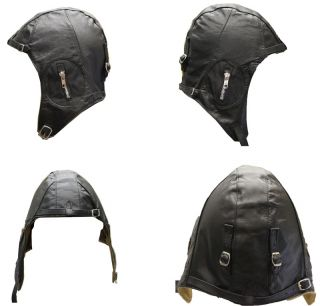 Leather Flight Pilot Motorcycle Helmet Black Large