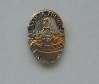 Nashua Police ~ Patrolman ~ Mini Badge Lapel/Hat/Tie Tack Pin MINT