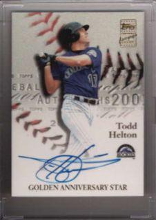 Todd Helton 2001 Topps Golden Anniversary Autograph Auto GAA TH JR2323