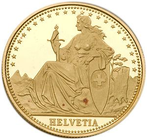 1987 Switzerland Matterhorn (Helvetia) 1/4 oz Gold Proof Coin
