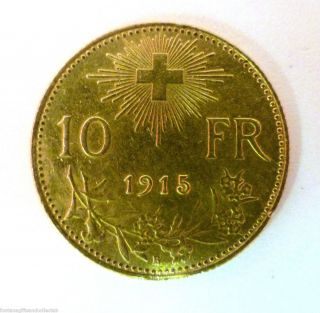 1915 Swiss 21 6ct Gold Helvetia 10 Franc Coin