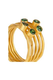 Kevia Set of five 22 karat gold plated emerald rings   58% Off
