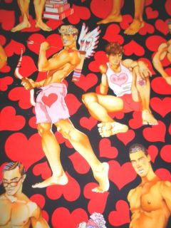 Alexander Henry Fabric Look of Love Pin Up Men Red Hearts on Black