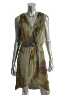 Haute Hippie New Green Sequined Silk Sleeveless Wrap Casual Dress M