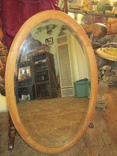Antique Wall Mirror ~ Beveled & Oak ~ Oval Shape ~ Old & Heavy