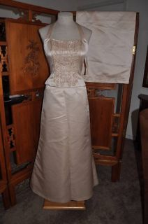 New Donna Gray Champagne Beaded Corset Dress Wrap