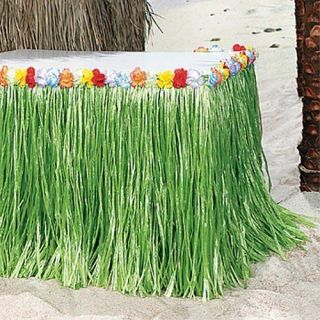 Hawaiian Luau Party Green Grass Table Skirt Hibiscus Flower Lot