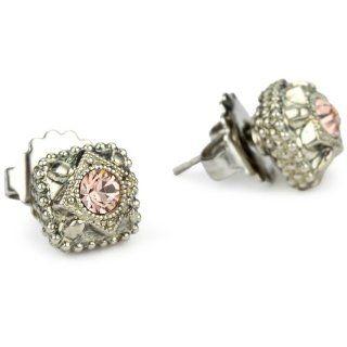 Sorrelli French Blush Vintage Style Crystal Stud Silvertone Earrings