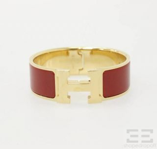 Hermes Gold Plated Red Enamel Wide Clic Clac H PM Bracelet