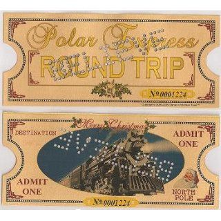 Polar Express Punched Golden Keepsake Ticket Original Size