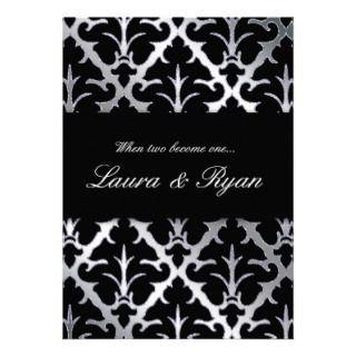 Damask Wedding Invitation Black Sparkle Silver