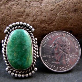 Navajo Henry Sam Sterling Silver Kings Manassa Turquoise Ring