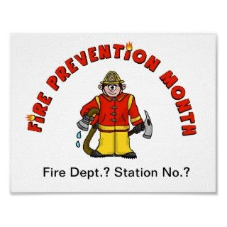 Fire Prevention Month Cartoon Fireman Poster
