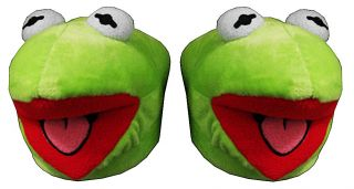 The Frog The Muppets Face Jim Henson Adult Plush Mens Slippers