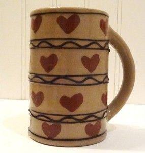 Vtg Hartstone Pottery USA Coffee Mug Cup HTF Heart Hearts Pattern
