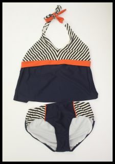 KC Parker Hartstrings Size 16 Nautical Navy Blue Striped Tankini Girls