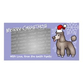Christmas Poodle (silver beige puppy cut) Personalized Photo Card
