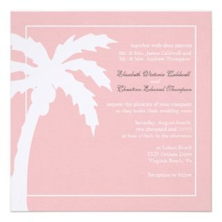 Tropical Palm Tree Wedding Invitation bubblegum