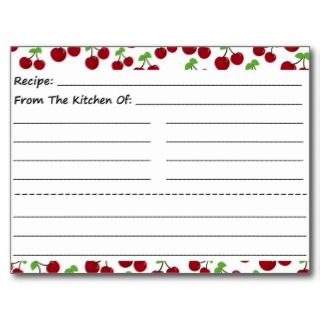 Blank Recipe Cards Cherries Postcards