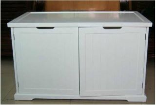 NEW White Cat Washroom Bench Litter Cover Organizer Extra Large 37