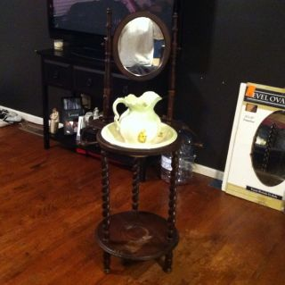 VICTORIAN WASH BASIN STAND WITH BOWL AND PITCHER WOOD MIRROR TOWEL