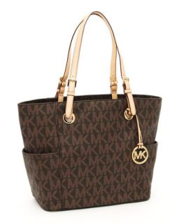 MICHAEL Michael Kors Logo Print Signature Tote Bag, Brown   Neiman