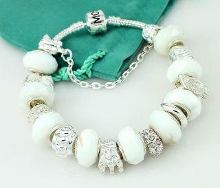 Hermosa White Crystal Beads Diamond Silver Bracelet 8