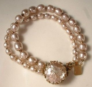 Vtg Miriam Haskell Signed Baroque Pearl Two Strand 2 Tone Necklace